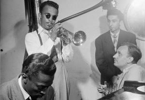 Howard McGhee, Brick Fleagle and Miles Davis, ca September 1947