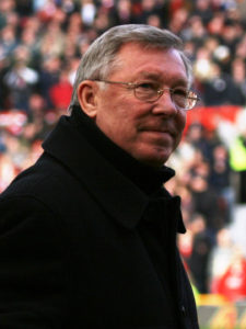 Photograph of the coach of Manchester United, Sir Alex Ferguson