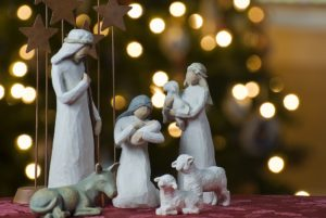 Christmas scene: model of a crib