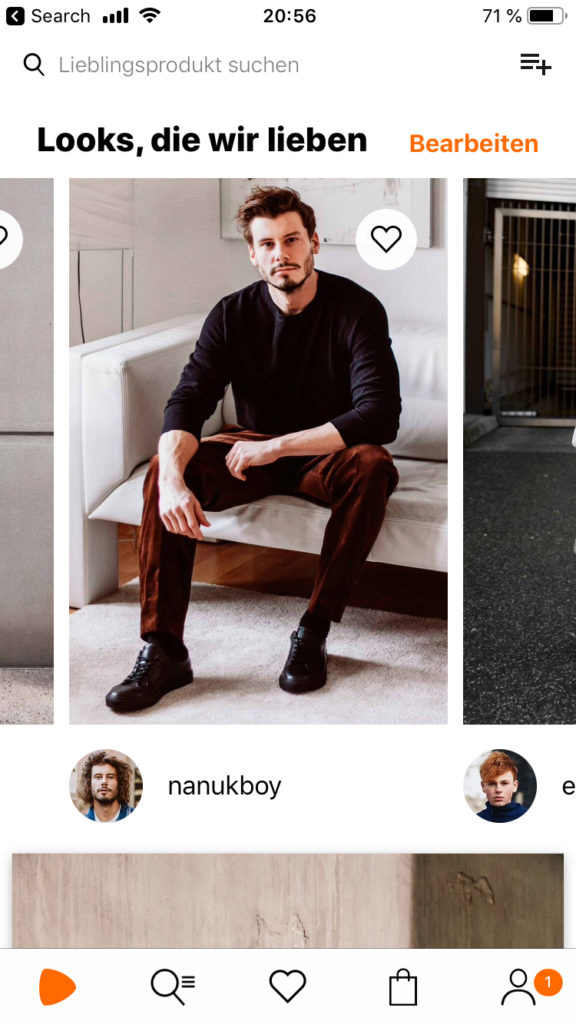 Zalando app offers to shop style in their product