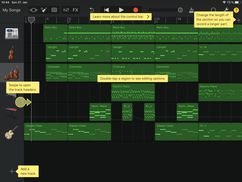 The interface of garage band, that explains how certain parts of the product are used.